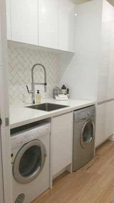 Optimize your small space & learn trick how to organize your dryer sheets, laundry room cabinet & other laundry room essentials Laundry Doors, Laundry Room Cabinets, Laundry Room Storage, Bath Laundry Combo, Laundry In Bathroom, Commercial Laundry, Laundry Room Remodel, Small Toilet, Feature Tiles