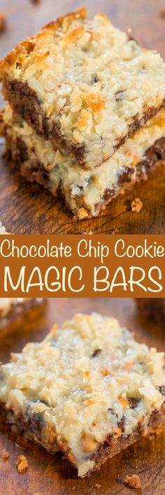 Chocolate Chip Cookie Magic Bars – Averie Cooks Chocolate Chip Cookie Magic Bars – The classic recipe made even better with a chocolate chip cookie crust! One bowl, no mixer, fast and easy! Soft, chewy, gooey and SO GOOD! Cookie Desserts, Cookie Bars, Just Desserts, Cookie Recipes, Delicious Desserts, Cookie Crust, Dessert Recipes, Yummy Food, Bar Cookies