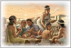 Ancient Sumerians eating dinner atop the flat roof of their house.
