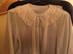 Dainty Blue Bed Jacket Lace Trim Neck & Sleeves Vintage 1950's Nylon Size Small #Unbranded