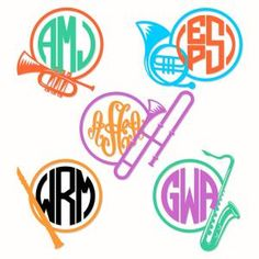 Musical Instruments Pack with Flute, Saxophone, Trumpet and French Horn Round Frame Monogram Cuttable Design Cut File. Vector, Clipart, Digital Scrapbooking Download, Available in JPEG, PDF, EPS, DXF and SVG. Works with Cricut, Design Space, Sure Cuts A Lot, Make the Cut!, Inkscape, CorelDraw, Adobe Illustrator, Silhouette Cameo, Brother ScanNCut and other compatible software.