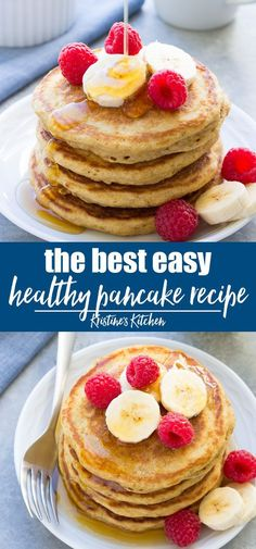 The very BEST healthy pancake recipe! These pancakes are so quick and easy to make and super fluffy! If you haven't tried homemade pancakes from scratch, these are a must-make. These whole wheat pancakes are perfect for kids and adults alike! Best Healthy Pancake Recipe, Healthy Breakfast Recipes, Healthy Brunch, Pancake Recipes, Healthy Recipes, Recipe For Whole Wheat Pancakes, Easy Pancake Recipe For Kids, Best Pancake Recipe Fluffy, Crockpot Recipes