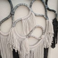 Ive made this wall hanging for my family room. I absolutely love the design, but the size is bigger than I need. This abstract wall hanging is maid out the acrylic yarn and wool blend yarn. Ive used different shades of grey. The dimensions -24 x 72 inches. Thank you