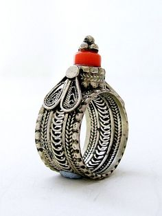 Sterling Silver Ring, set with red Coral stone, traditional Yemenite style OOAK $130