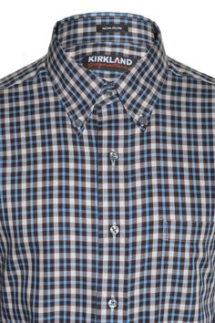 d3dfa1ea1b780 Kirkland Mens Sport Non-Iron Dress Shirt Long Sleeve Plaid Print Button  Collar  KirklandSignature