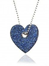 Heart Pendant in white gold and sapphires with diamonds on the other side
