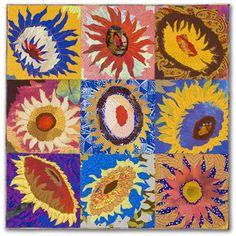 """Sue Benner - (Dear Sunflower) Tell Me More - 6. 2011 - 23.5"""" x 23.5"""" -  art quilt: dye and paint on silk, cotton, found fabrics, fused, machine quilted."""