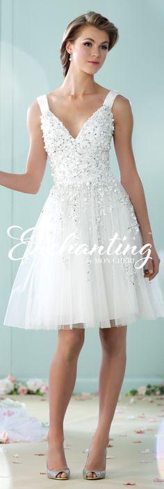 Enchanting by Mon Cheri - The Premiere Collection ~Style No. 215104 #shortlaceweddingdress Carly Earrings www.davidtuteraembellish.com