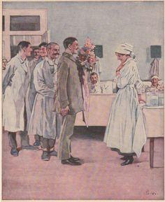Soldaten im Lazarett 1917, Krankenschwester
