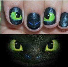 How to train your dragon 2 nails Dragon Birthday Parties, Dragon Party, Dragon 2, How To Train Dragon, How To Train Your, Nail Art Diy, Cool Nail Art, Httyd, Hiccup Y Astrid