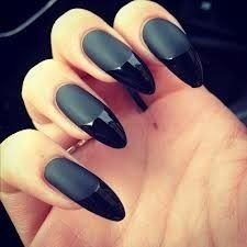 matte black nails with French tips
