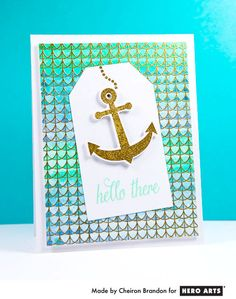 Fancy Nautical Hello  By Cheiron Brandon - Scrapbook.com - Beautifully stamped and colored card.