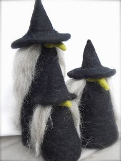 WITCH Trio Needle Felted Whimsical Crones Halloween Decoration.