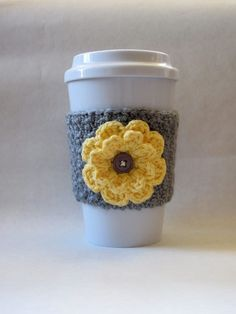 Crochet Flower Coffee Cup Cozy Gray and Yellow - crochet mug cozy Crochet Coffee Cozy, Coffee Cup Cozy, Crochet Cozy, Crochet Gifts, Cute Crochet, Coffee Cups, Easy Crochet, Coffee Cozy Pattern, Winter Coffee