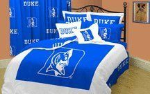 Duke Blue Devils Bed-in-a-Bag Twin by College Covers. $167.95. Bed in bag includes comforter, sheet set, dust ruffle, and sham All items are 100% cotton sateen for a soft luxurious feel. 200 thread count