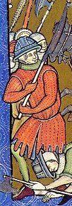 Gambesone rappresentato su di una incisione di una bibbia del XIII secolo.
