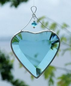 Turquoise Beveled Glass Heart. June 15 01 <3