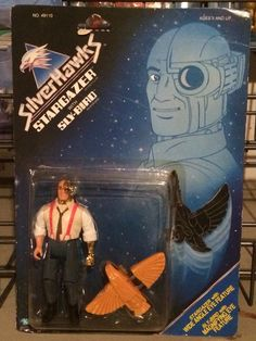 Commander Stargazer with Sly-Bird from the SilverHawks line of action figures from Kenner. These are part of my personal collection of toys.
