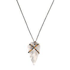 Crystal Quartz Arrowhead Pendant //