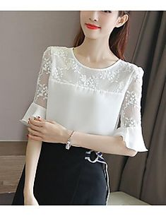 Blue Dresses For Women, Unique Prom Dresses, Pretty Dresses, White Shirts Women, Blouses For Women, Red Blouses, Cotton Blouses, White Ruffle Blouse, Blouse Dress