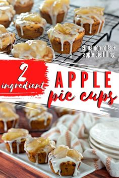 2 Ingredient Apple Pie Cups are such a fun way to enjoy a cinnamon roll and apple pie flavors at the same time! This 20-minute recipe is perfect for any breakfast or dessert when you want a delicious, hot pastry drizzled with frosting, but with minimal effort. Apple Recipes, My Recipes, Cooking Recipes, Favorite Recipes, Great Desserts, Delicious Desserts, Pie Dessert, Dessert Recipes, Dessert Ideas