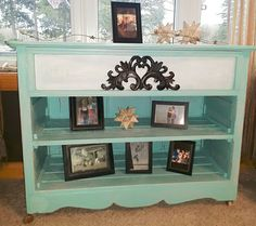 Old dresser made into an awesome accent table.