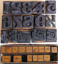 Set of 1930's Vintage Rubber Stamp Numbers, Pricing Words, 1 Inch Size, 15 Stamps. $28.50, via Etsy.