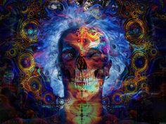 pschodelic art   Psychedelic skeleton acid art