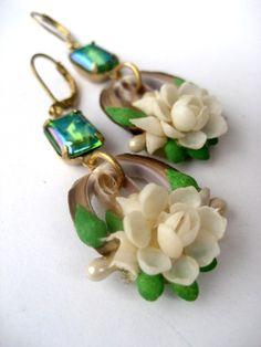 Gardenia - Antique Shell Flower Earrings RESERVED FOR LIZA.