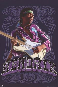Jimi Hendrix Purple Haze Paisley Art Music Poster 24x36