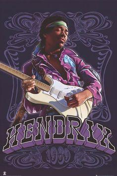 Jimi Hendrix Purple Haze Paisley Art Music Poster 24x36