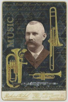 """EKDuncan - My Fanciful Muse: """"The Musician"""" is part of my Antique Cabinet Card - Altered Art collection that I did for a swap several years ago."""