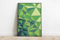 Abstract geometric green printable wall art, Digital print, Above bed wallart, blue triangles, Living room wall decor Geometric Wall Art, Abstract Wall Art, Bed Wall, Room Wall Decor, Minimalist Poster, Shades Of Green, Printable Wall Art, Wall Art Prints, Design Art