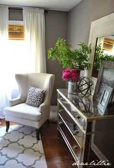 Bedroom decor ideas - Grey and white, mirrored dresser, wingback chair. A Little Peek of A Few Additions to the Gray Guest Bedroom by Dear Lillie Style At Home, Home Bedroom, Bedroom Decor, Master Bedroom, Bedroom Blinds, Gray Bedroom, Decoration Inspiration, Bedroom Inspiration, Decor Ideas
