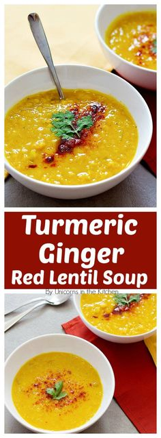 This Turmeric Ginger Red Lentil Soup will warm you up on cool fall days. The combination of turmeric and ginger brings a nice heat and flavor while keeping it light with the red lentils.