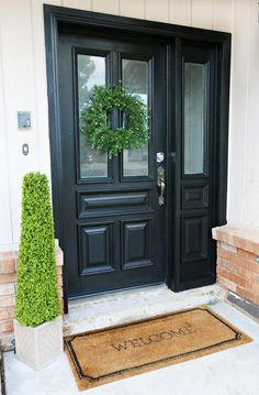 Update My Curb Appeal by Painting My Front Door - # Act . - Update My Curb Appeal by Painting My Front Door – # Update My Curb Appeal by Painting My Front Door – # # Black Front Doors, Front Doors With Windows, Front Door Entrance, House Front Door, Painted Front Doors, The Doors, Front Entrances, Entry Doors, Exterior Doors With Sidelights