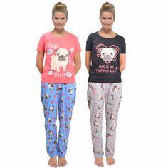 Ladies Cotton Jersey Short Sleeve Pug Print Pyjamas Sets Nightwear Sizes 8-22