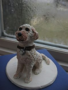 Custom made single Dog Polymer clay cake topper by S322Designs, $55.00