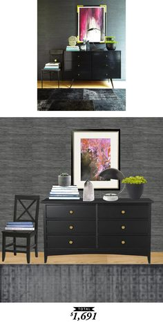 A dark and glamorous entryway designed by Nina Freudenberger of Haus Interior. Recreated for only $1691 by @audreycdyer for Copy Cat Chic.