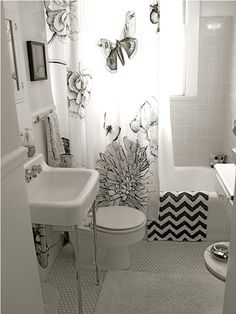 Our New DigitalArt Images Are Now Available Through Our Storefront - Black and white chevron bath rug for bathroom decorating ideas