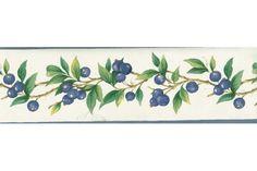 Big Blue Berries in Plant Wallpaper Border