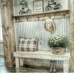 we should do this outside on the girls bedroom wall instead of siding. theres an overhang. We could hang garden decor and have garden storage.