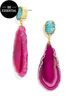 The druzies and geodes in these long statement earrings feel luxuriously boho in rich jewel tones. Each stone is unique so shape, color and size may vary. Earrings are of substantial weight.