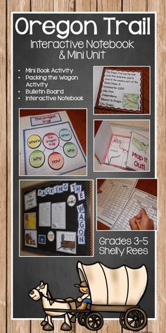 Oregon Trail Interactive Notebook and Mini Unit. Foldables, Pack the Wagon Activity, Mini Book, Bulletin Board. SO fun....my students will love this!