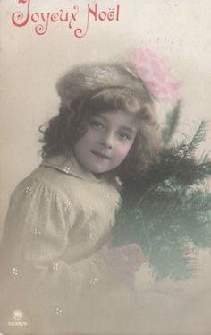 RPPC Real Photo Postcard Beautiful Edwardian Girl with Pink Ribbon Christmas | eBay