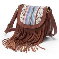 This fashionable handbag features a long fringe and lace embroidered design. Brown Crossbody Purse, Fringe Crossbody Bag, Fringe Purse, Fringe Bags, Crossbody Shoulder Bag, Crossbody Bags, Red Purses, Brown Purses, Red Shoulder Bags