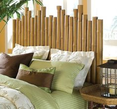 Creative headboard designs add a special touch to your room by many shapes, colors and artistic paintings. They suit classic and modern styles Tropical Bedroom Decor, Tropical Bedrooms, Bamboo Furniture, Furniture Design, Cheap Furniture, Furniture Ideas, Furniture Nyc, Furniture Websites, Inexpensive Furniture