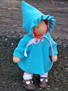 """Waldorf doll  Wool Coat and Hat for a 14"""" doll  2 pc set fully lined reggiesdolls"""