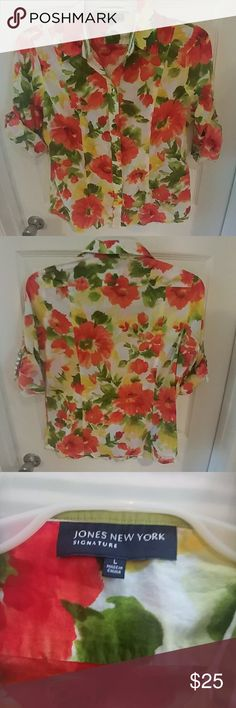 Jones New York Blouse Jones New York Blouse button down style.  Gorgeous floral pattern gold buttons. 100% cotton. 26 inch length. 20 inches armpit to armpit. Jones New York Tops Button Down Shirts