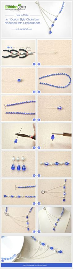 How to Make an Ocean Style Chain Link Necklace with Crystal Beads by wanting